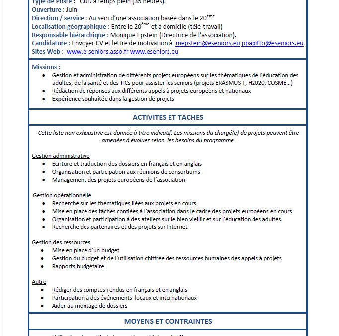Offre d'emploi: chargé(e) de projets européens – association E-SENIORS