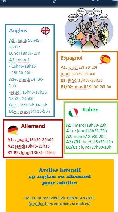 Planning des cours de langues 2017-2018