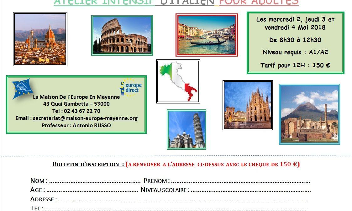 Atelier intensif d'italien pour adulte