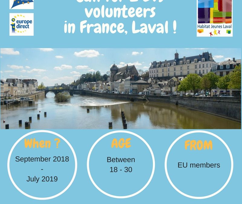 The House of Europe in Mayenne (France) and Habitat Jeunes Laval are looking for 2 European volunteers, from September 2018 for 10 months!