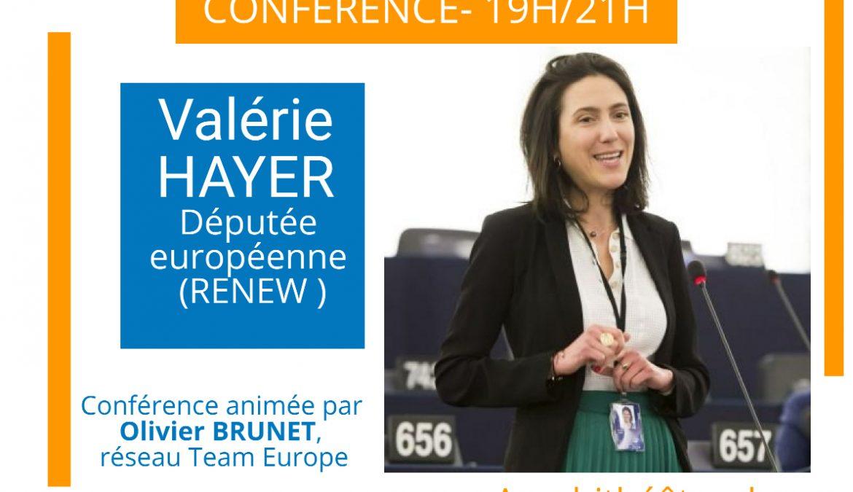 Vendredi 30 octobre, 19h, «1 an après les élections européennes, échanges avec l'eurodéputée Valérie HAYER (Renew)