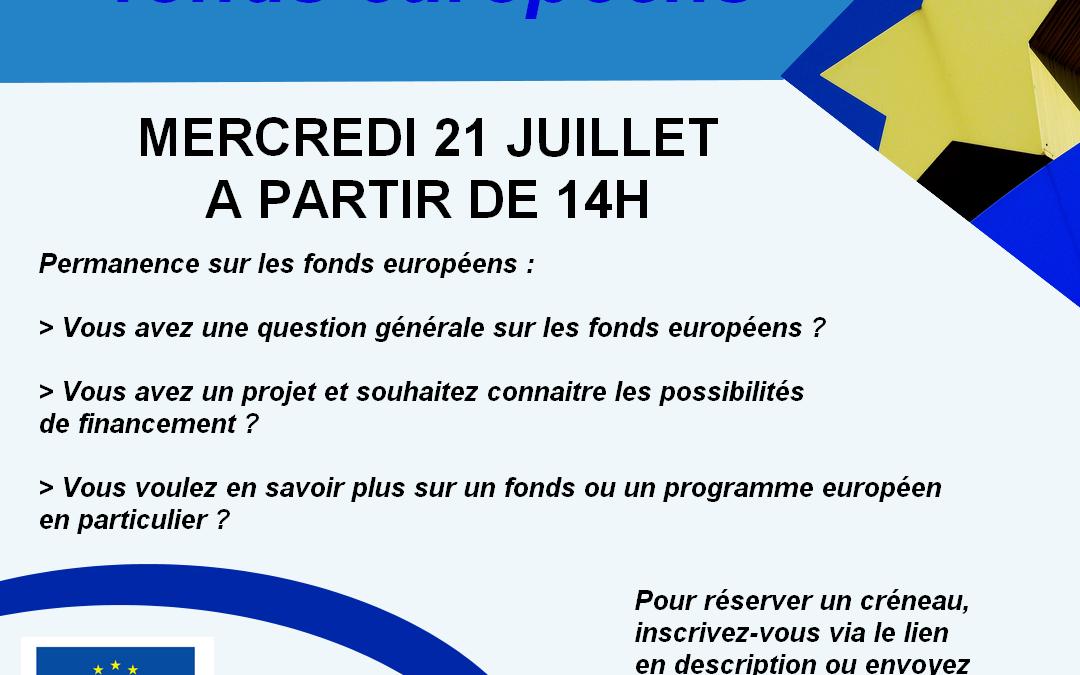 Permanence fonds européens – 21 juillet dès 14h